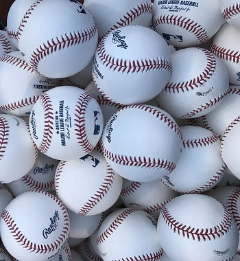 Major League baseballs, waiting for batting practice. Shot on an iPhone 7.