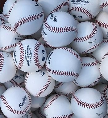 Major League baseballs, waiting for batting practice. Shot on an iPhone 7.